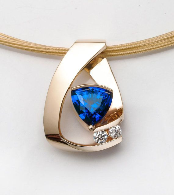 14k yellow gold, sapphire and diamond pendant designed by David Worcester for VerbenaPlaceJewelry.Etsy.com