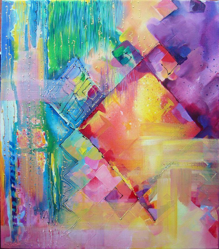 Composition- acrylic on canvas, 40/35 cm, 2016, Derecichei Simona Mihaela