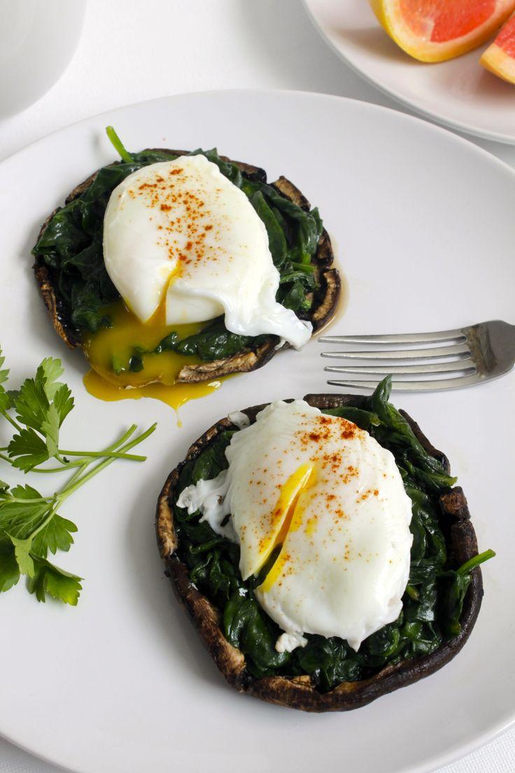 Portobello Mushroom Eggs Florentine : leangreennutritionfiend