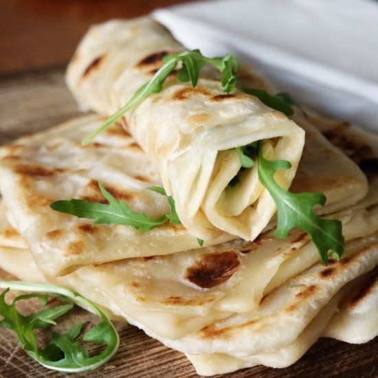 Crispy Moroccan Flatbread, a delicious buttery thin-layered bread. Perfect for breakfast, sweet or savory!