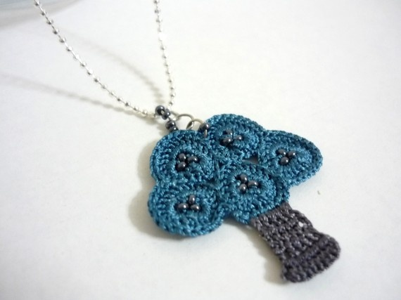 crocheted tree pendant