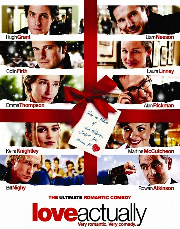 """I just realized that my Pinterest board for movies and TV did not have a photo for one of my wife's and my favorite films, """"Love Actually"""", staring Hugh Grant, Liam Neeson, Colin Firth, Laura Linney, Emma Thompson, Alan Rickman, Keira Knightley, Bill Nighy, Rowan Atkinson & Martin Freeman, to name a few of it's stars. Have you seen it? I'm a sap for romantic holiday movies. How about you?"""