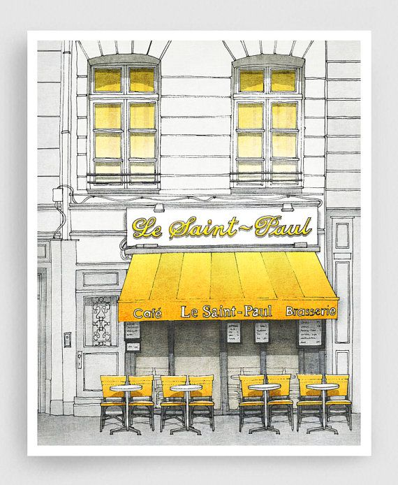 cute illustration - would look great in a black frame with white mat. Le Saint Paul Paris illustration Art Illustration Print от tubidu