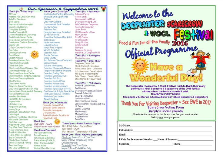 Our 2 fold programme - back & front pages featuring Scarecrow voting form and our Sponsor THANK YOU LIST