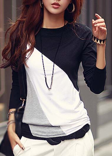 Long Sleeve Spliced Block T Shirt on sale only US$23.97 now, buy cheap Long Sleeve Spliced Block T Shirt at lulugal.com