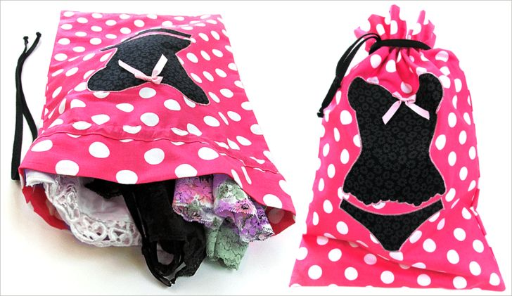 How fun are these?? ;-) Lingerie Bag & Shoe Bag Travel Set | Sew4Home