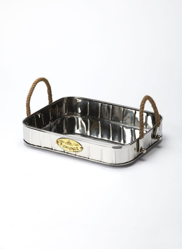 Transitional Rectangular Serving Tray Silver