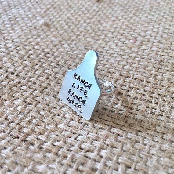Cattle Ear Tag Ring Ranch Wife Ring Cow Ear Tag Ring Custom