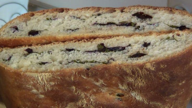 Домашний хлеб с оливками.