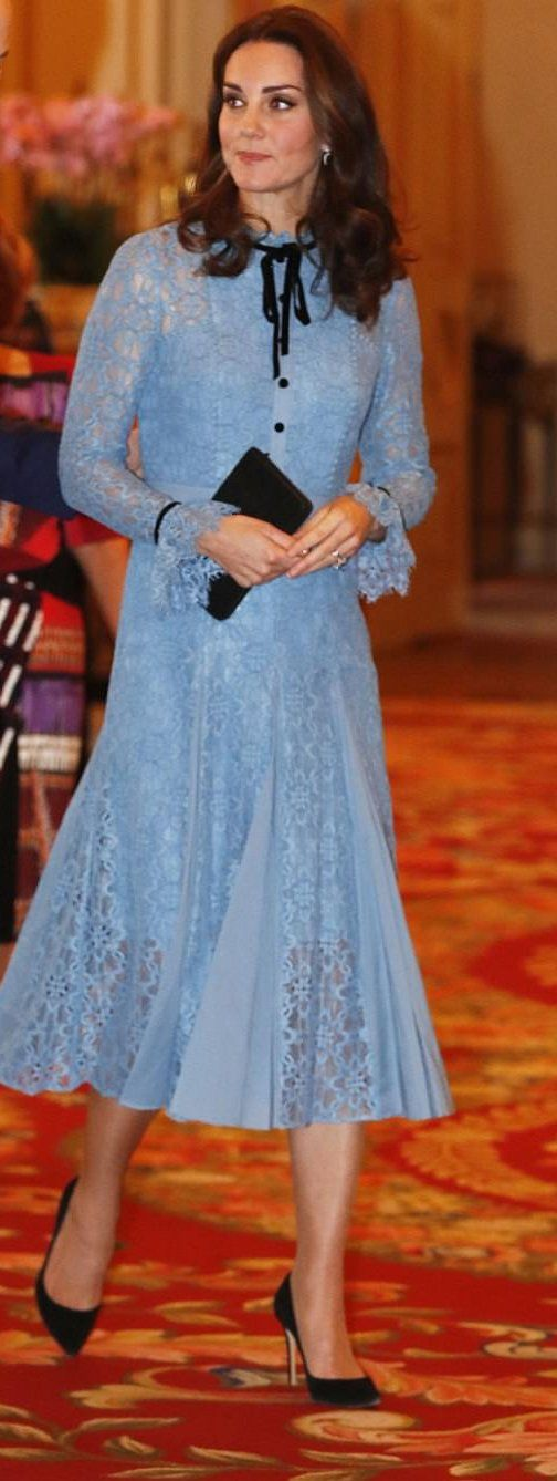 Catherine, The Duchess of Cambridge in Temperley London attends a Buckingham Palace reception to mark World Mental Health Day. #bestdressed