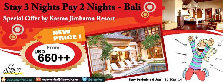 Ingin liburan ke #Pulau #Bali? Yuk dapatkan penawaran spesial dari #Karma #Resort sekarang juga! Kini ada paket  Stay 3 Nights pay 2 Nights by Karma Resort.  Dapatkan Spesial Paket tersebut dari LiburYuk http://liburyuk.com/listpackage/Special+Offer+Karma+Resort+-+Stay+3+Nights+pay+2+Nights #jalan2 #abbeytravel #holiday #liburyuk