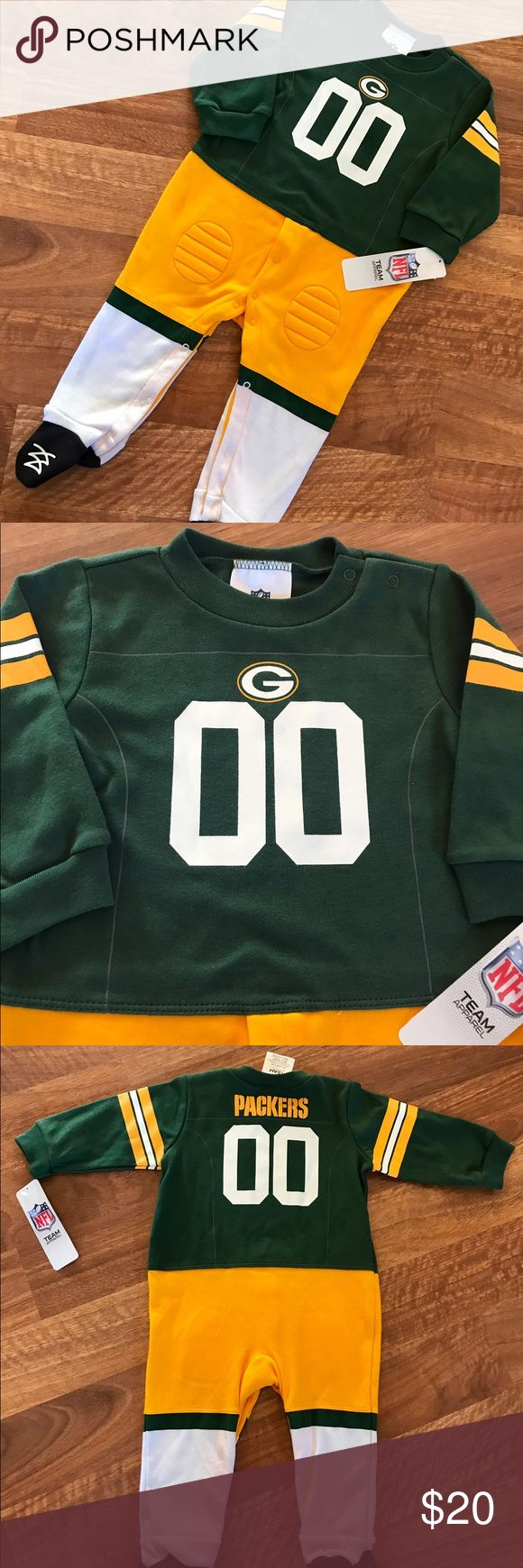 {NFL} Baby Sleeper NWOT Get your little Cheesehead ready for the big game in this adorable little one-piece Packers sleeper! Size 6-9 months. All of my items come from my smoke-free home. Bundle and save!!! NFL One Pieces
