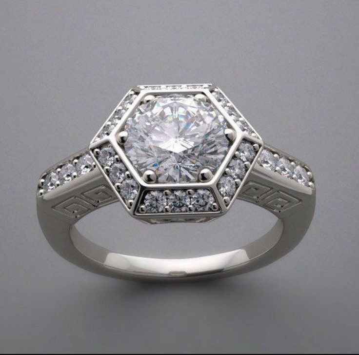 Vintage inspired Art Deco Hexagon Halo Engagement Ring Lab created diamonds
