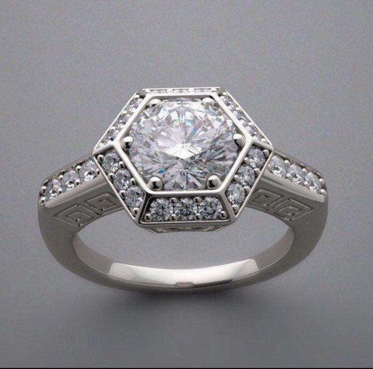 Vintage inspired Art Deco Hexagon Halo Engagement Ring Lab created diamonds