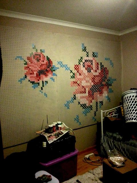 The Bl♥g It List.: DIY Cross Stitch Mural // headboard ideas