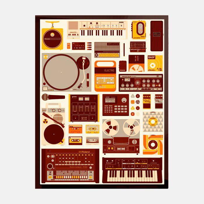 Cartel Tools of the Trade - Enmarcado en vidrio con marco de madera negro  http://followtheforest.com/ilustraciones/100-cartel-tools-of-the-trade.html