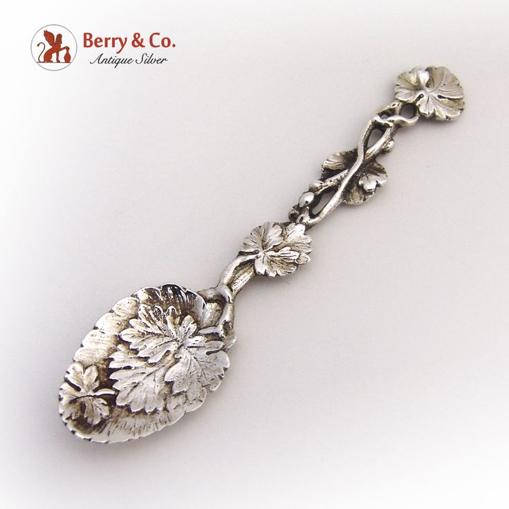Aesthetic Coffee Spoon Leaf Vine 1892 London Sterling Silver