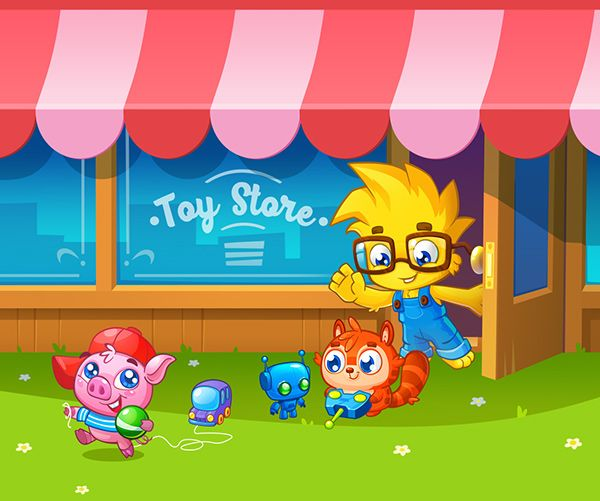 Beautiful game art. Educational game for kids.  Professional gam graphics. Store. Illustration for kids. Cute animals.