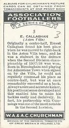 1938 W.A.& A.C Churchman #5 E. Callaghan Back