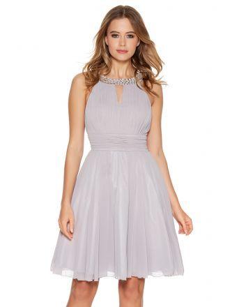 Light Grey Chiffon Diamante Neck Short Dress