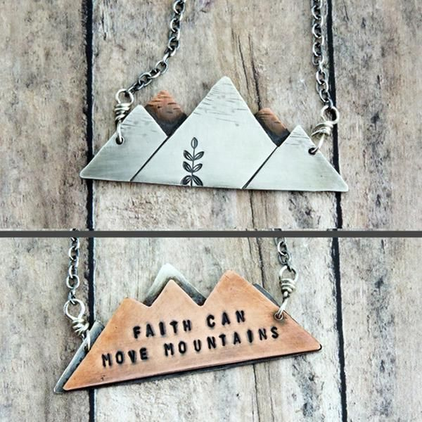 """Trendy mixed metal mountain range necklace combines your love of nature with your spirituality with the inspirational message """"faith can move mountains."""""""