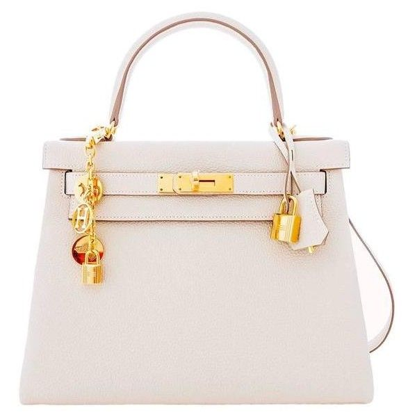 Preowned Hermes Craie 28cm Chalk Togo Kelly Gold Ghw Shoulder Bag... ($22,750) ❤ liked on Polyvore featuring bags, handbags, shoulder bags, white, shoulder strap bag, white handbags, preowned handbags, hermes handbags and pre owned handbags