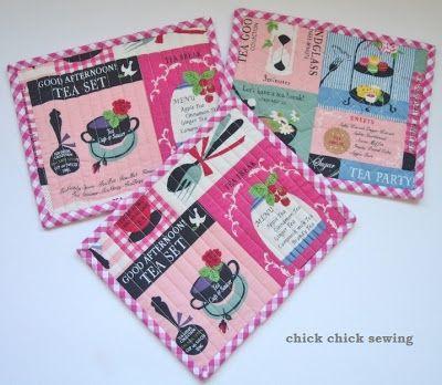 chick chick sewing: Tea time mug rug gift set ティーマット(マグラグ)をハンドメイド