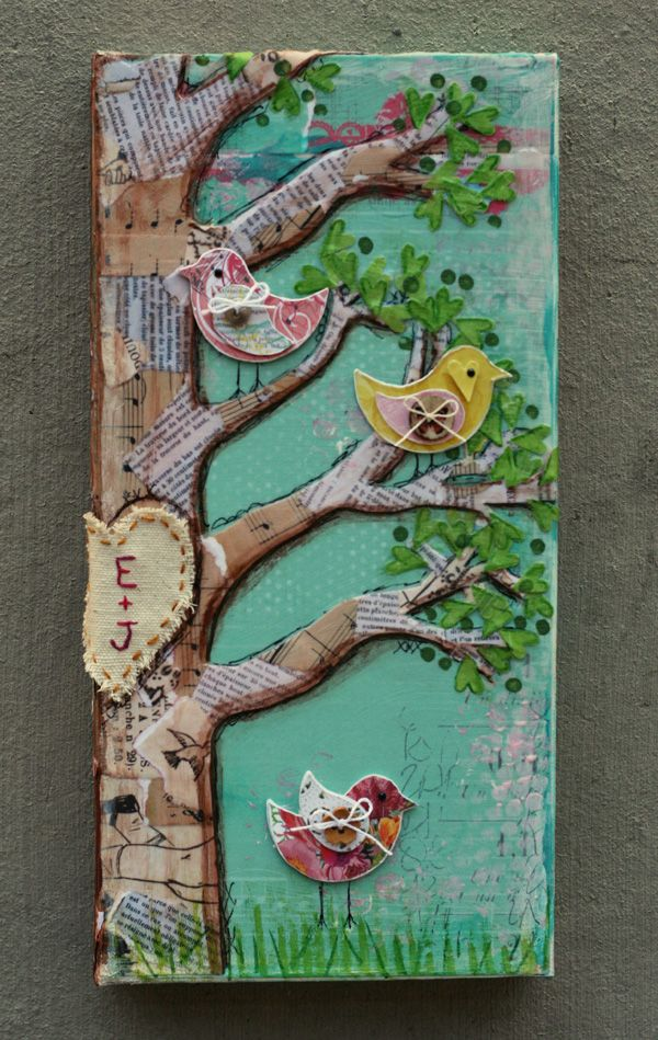 Birds Of A Feather canvas art. Made from book pages, sheet music, glue, felt, fabric and paint. Precious.
