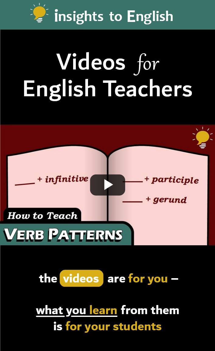 This Is An English Grammar Video For Esl Efl Teachers On How To Teach Verbals Specifically Verb Patterns Or Grammar Reference How To Memorize Things Teaching [ 1152 x 706 Pixel ]