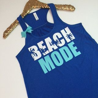 Beach Mode - Ruffles with Love - Racerback Tank - Womens Fitness - Workout Clothing - Workout Shirts with Sayings