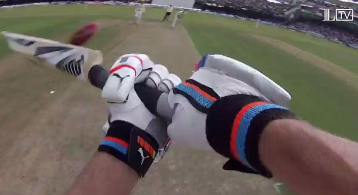 Cricketer Adam Gilchrist wore a camera on his helmet