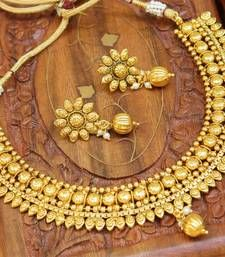 Buy Gorgeous designer gold plated  necklace set south-indian-jewellery online at, http://www.mirraw.com/designers/reeti-fashion/designs/beautiful-long-gold-plated-temple-jewellery-with-goddess-laxmi-south-indian-jewellery