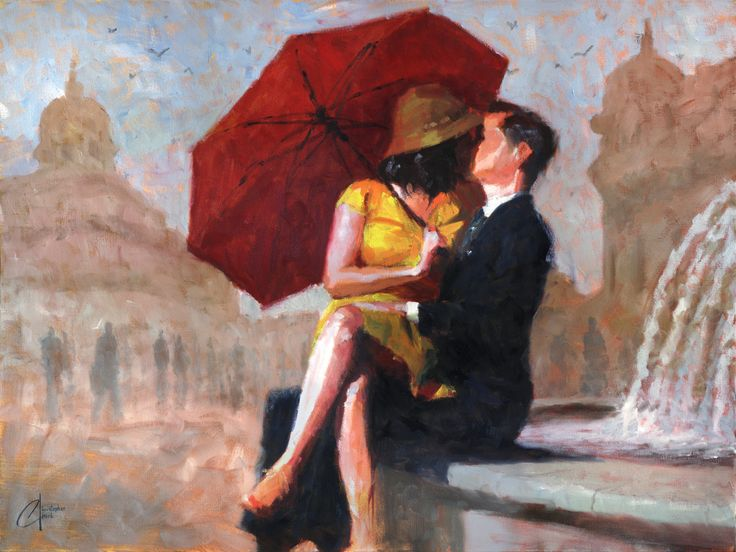 """""""Kiss in the Piazza"""" - Original by Christopher Clark - The Incredible Art Gallery"""