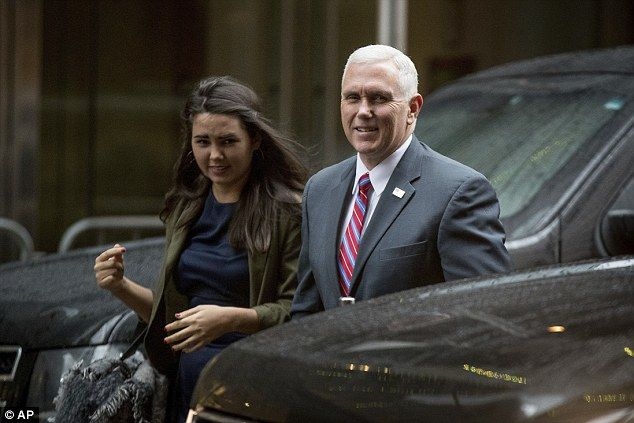 Vice President-elect Mike Pence was also shadowed by his youngest daughter Audrey, a senior at Northeastern University, on Tuesday