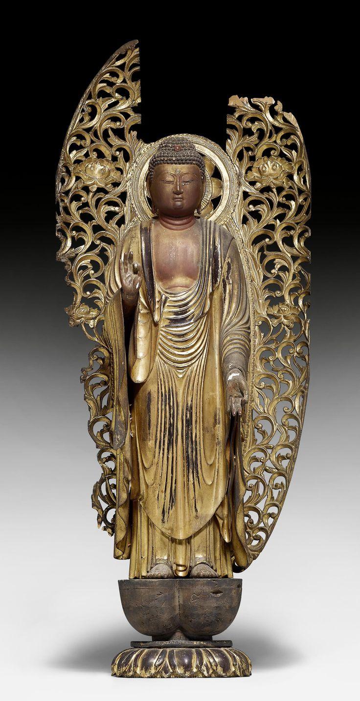 STEHENDER AMIDA NYORAI. Japan, Edo-Zeit, H 72 cm (ohne Aureo