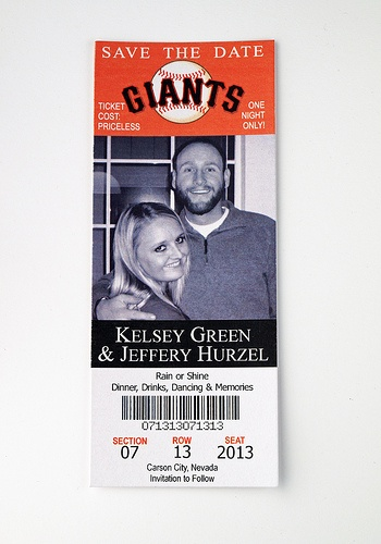 San Fransico Giants - Wedding Save the Date Ticket