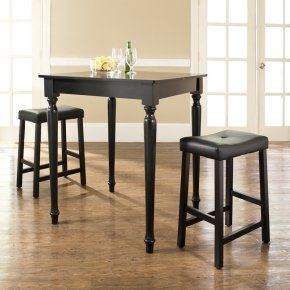 Crosley 3-Piece Pub Dining Set with Turned Leg and Upholstered Saddle Stools - Indoor Bistro Sets at Hayneedle $193