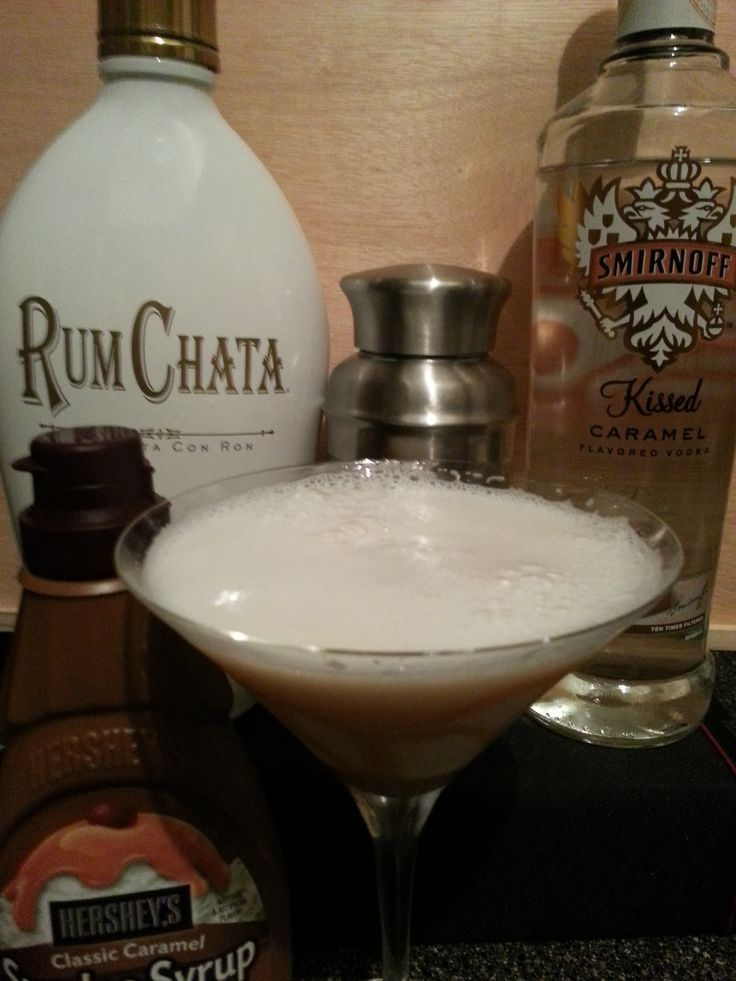 Salted Caramel Martini 2 oz Rum Chata, 1 oz Caramel Vodka, ice in a shaker and shake until cold. Line glass with caramel sauce and (optional) salt rim with table salt and water
