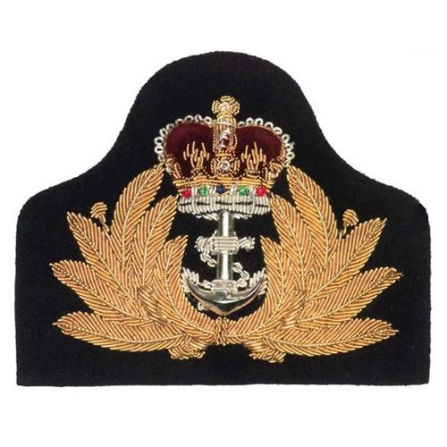 Army Officer's cap badges are gold and silver bullion wire embroidered. Hud Badges make Navy Cap Badges, Crown and Star badges in sew on variety and with Velcro backing. http://hudbadges.com/detail.php?live=1_0_0_44