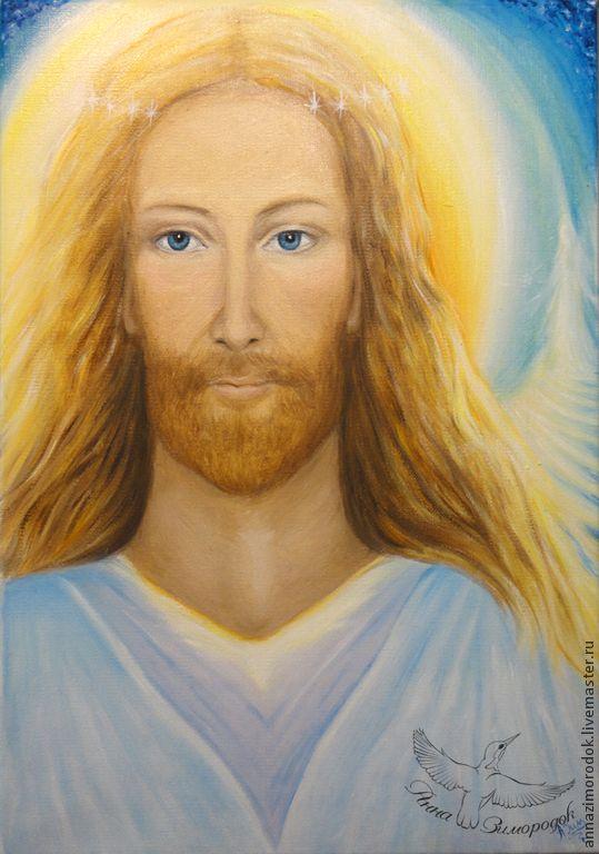 """Купить Картина маслом холст """"Иисус Христос"""" - Иисус Христос, любовь, умиротворение, радость, вознесение"""