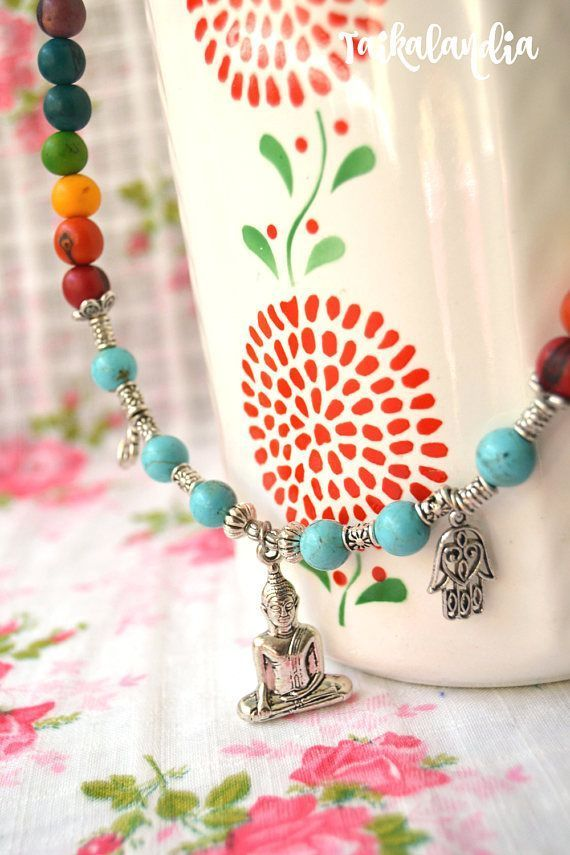 Big Buddha Necklace Chakra Necklace Turquoise Gemstone #buddhanecklace #buddhajewelry #chakranecklace #chakrajewelry #beadedjewelry #chakra #buddha #handmadejewelry