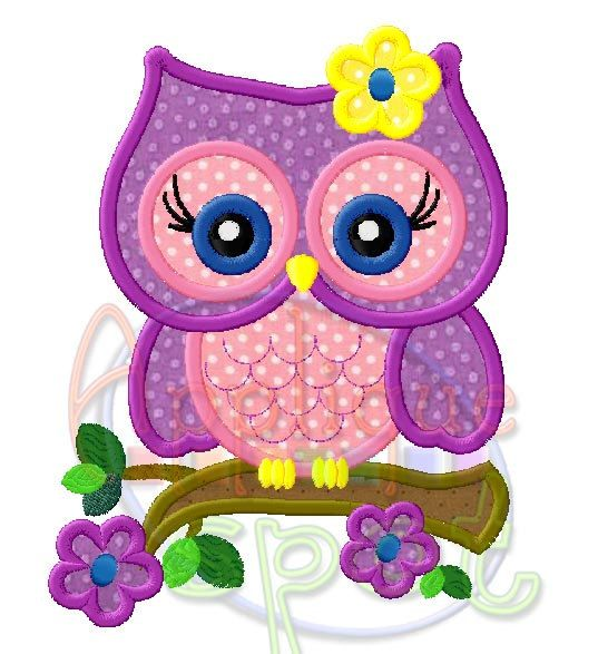 Cute Girly Owl Spring Flowers 4x4 5x7 6x10 Applique Design Embroidery Machine…