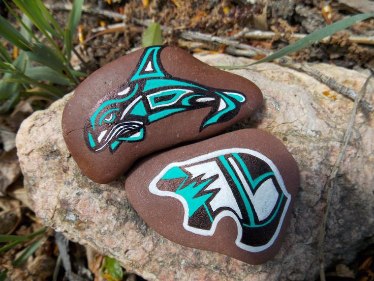 Set Hand Painted Stones Native American Whale Bear