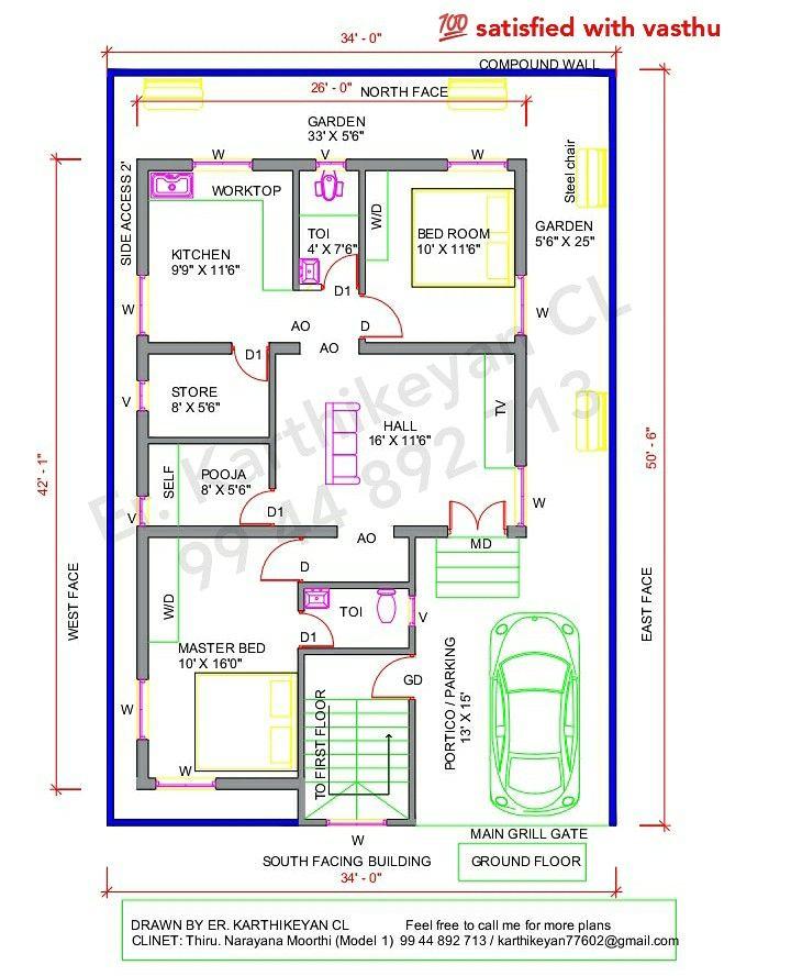 Floor Plan 26 X 42 Plot Plan 34 X 50 6 Facing South Plot Plan Small House Design Plans Floor Plans