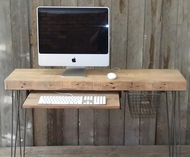 Raw wood board and hairpin legs (http://hairpinlegs.com)