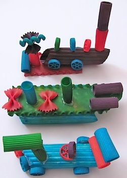 Construction With Dyed Pasta - Things to Make and Do, Crafts and Activities for Kids - The Crafty Crow