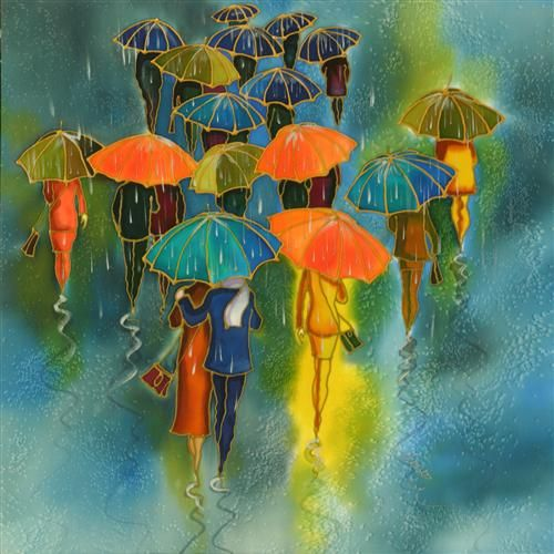 "Original art for sale at UGallery.com | Colorful  Umbrellas by Yelena Sidorova | $350 | mixed media artwork | 20"" h x 20"" w | http://www.ugallery.com/mixed-media-artwork-colorful-umbrellas"