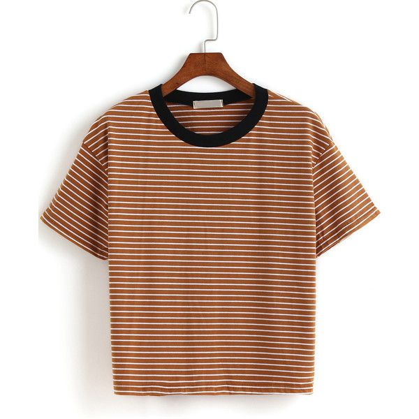 Contrast Collar Striped Loose T-shirt ($12) ❤ liked on Polyvore featuring tops, t-shirts, shirts, clothes - tops, romwe, khaki, t shirts, short sleeve tops, striped tee and loose t shirt