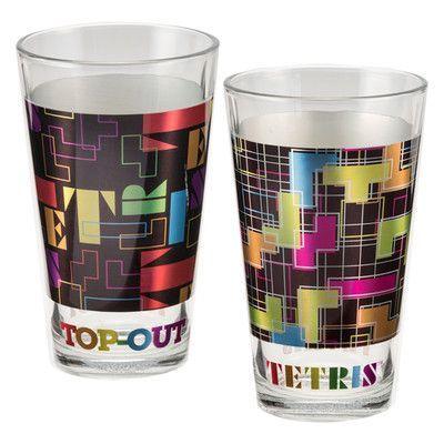 Vandor Tetris 2 Piece 16 oz. Laser Decal Glass Set
