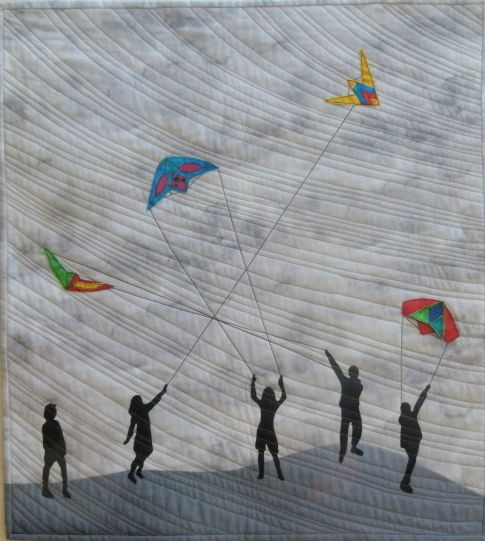 """""""Kites"""" a Quilt by Barbara Kavermann, inspired by my brother who loves to fly kites"""